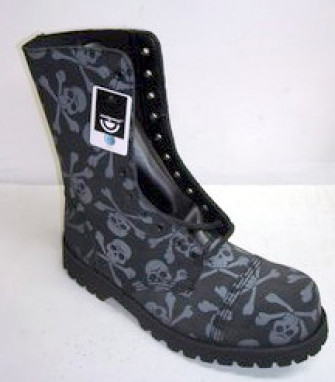 - 10 eye boot black suede with grey skull