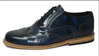 Classic Gatsby brogue shoe Rubb off blue box leather