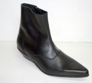 Side zip beat boot black leather