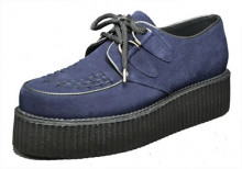 Double creeper shoe. Purple suede leather. Laces