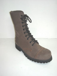 Steelground10 eye boot tan greasy