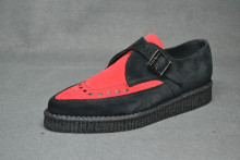 pointed creeper monk shoe, black/red suede interlaced
