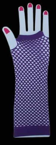 Purple Long Fingerless Fishnet Gloves