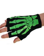 Short Printed Green Skele Hand Gloves