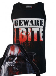 Beware I Bite Black Cotton Vest