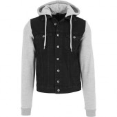 Hooded Denim Fleece Jacket black