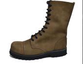 Steel cap boot. 10 eyes. Tan greasy nobuck leather