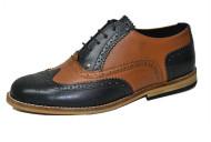 Gatsby brogue shoe Black and tan grain leather