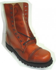Steelground Steel 10 eye boot Brown patent
