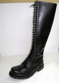 30 eye boot black leather