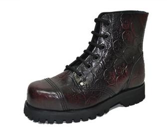 - Steelcap boot. Skull embossment in burgundy patent