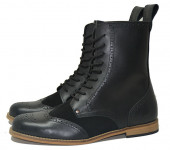 Gatsby brogue boot. Black grain with black suede leather