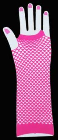 Pink Long Fingerless Fishnet Gloves