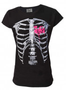 Pink Heart Skeleton Ribs Womens T Shirt