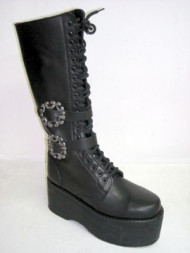Sun platform boot black leather