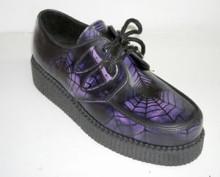 Steelground Single lace creeper shoe purple tarantula rub off