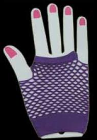 Purple Fishnet Fingerless Gloves