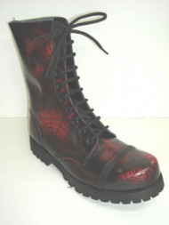 Steelground 10 eye boot red spider rub off