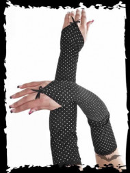 White dots on long black fabric gloves