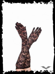 Long lace gloves with flower pattern