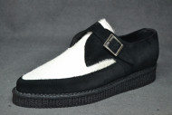 Pointed Creeper monk shoe, plain apron - Black suede leather/White hair on