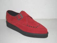 Steelground Single monk pointed creeper shoe red suede
