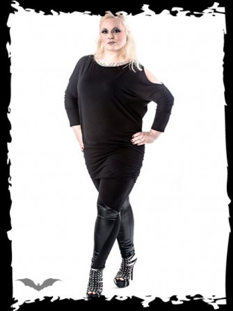 - Black long shirt with cut-out sleeves