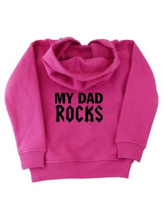 - My Dad Rocks Pink Kids Pullover Hood