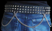 3 Row Concial Stud Belt with Chain