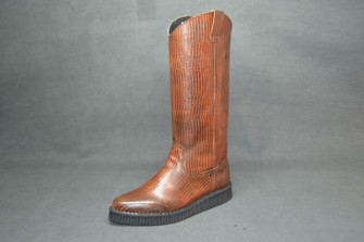 - Ankle chicago boot brown iguana leather