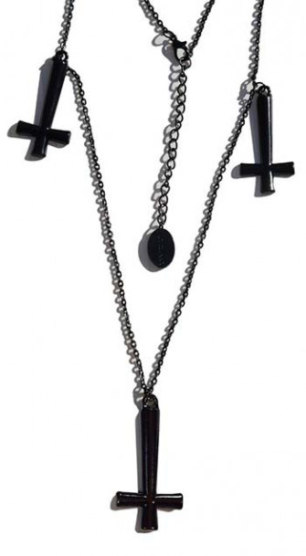 - Triple Inverted Cross Black Necklace