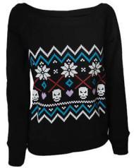 Fairisle Womens Black Sweatshirt