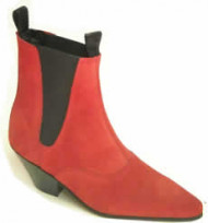 Steelground   Beat Cuban heel elastic boot red suede