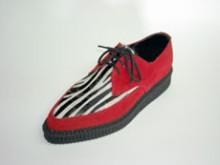 Steelground  Creeper pointed toe shoe red suede/blk-wht zebrino