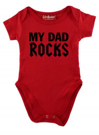 Red My Dad Rocks Baby Grow