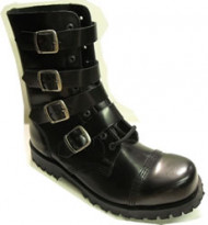 Steelground Steel 4 strap 10 eye boot black leather