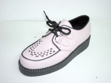 Steelground Single lace creeper shoe baby pink leather