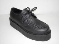Double d-ring creeper shoe black vegetarian
