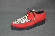 Pointed creeper lace plain apron shoe red suede/white leopard