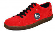 60's sneakers. Red suede leather. Laces