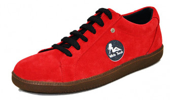 - 60's sneakers. Red suede leather. Laces