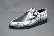 Pointed Creeper monk shoe, plain apron - white python/ black grain