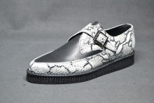 Pointed Creeper monk shoe, plain apron - white python/ black grain