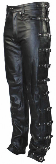 Leather pants with buckles «black»