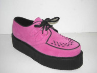 Double d-ring creeper shoe pink suede