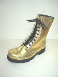 Steelground 10 eye boot metalic gold leather