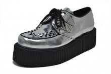 Lace creeper shoe double sole metalic silver leather