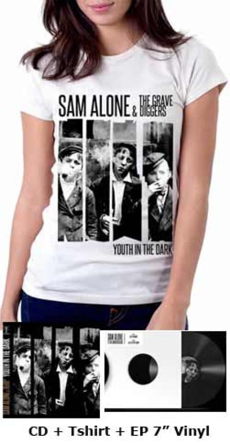 "- Youth In The Dark (White) Tshirt + CD + Vinil 7"""