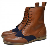 Gatsby brogue boot. Tan grain and navy suede leather