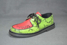 Low creeper sole shoe, interlaced - Suede lime python/Red Snake